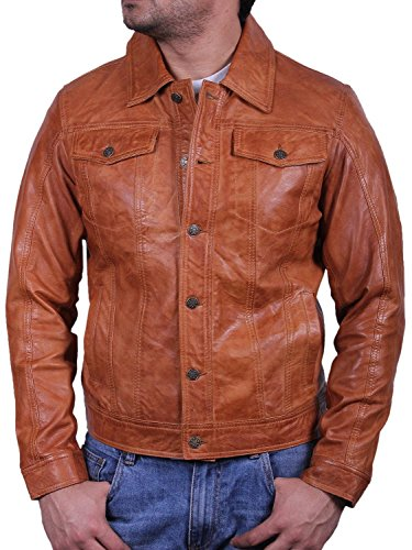 BRANDSLOCK Homme Blouson Veste Motard d'origine en Cuir Vintage Slim fit Manteaux Bronzer