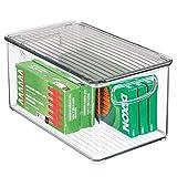 mDesign Contenedor plástico con tapa – Cajas transparentes apilables para utensilios de cocina, baño o material de oficina – Organizador de escritorio en plástico – transparente/gris humo