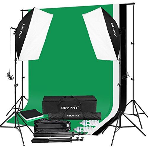 CRAPHY Kit Éclairage Studio Photo, 2000W Kit Studio Photo avec 3 Softbox avec 4 Douilles + 12x45W Ampoules + 3x80(2m) Trépieds + 3 Fonds + 2mx3m Support de Fond+ Sac de Transport