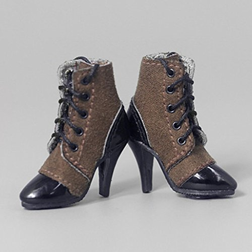 D DOLITY 1/6 Weibliche Schuhe High Heels Stiefeletten Stiefel Boots Für 12'' heiße Spielzeug Aktion Figur Zubehör - Kaffee