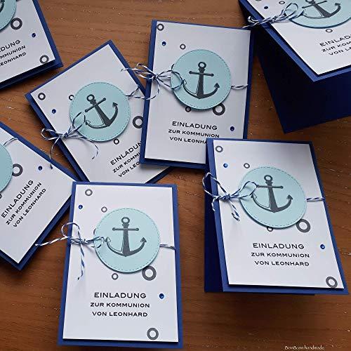 12 personalisierte Einladungskarten Einladung zur Kommunion Konfirmation Firmung Taufe Taufeinladung Kommunioneinladungen Anker blau Handarbeit binnbonn