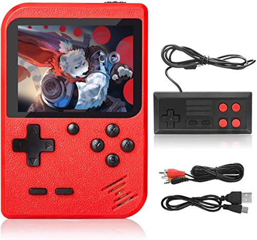 Handheld Game Console, Retro Portable Game Machine with 500 NES FC Games, 3-Inch Color Screen, 2 Players and TV Support, Rechargeable Battery Present Birthday Gift for Kids/Boys/Girls/Adults