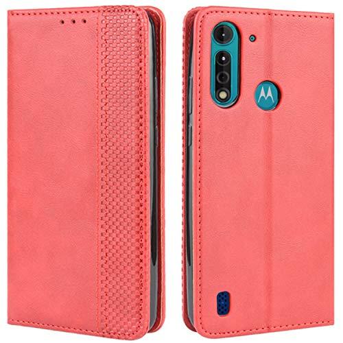 HualuBro Handyhülle für Motorola Moto G8 Power Lite Hülle, Retro Leder Stoßfest Klapphülle Schutzhülle Handytasche LederHülle Flip Hülle Cover für Motorola Moto G8 Power Lite Tasche, Rot
