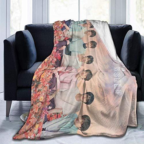 B-T-S Manta de franela ultra suave, manta de microfibra duradera, decoración del hogar, perfecta para sofá cama de 152 x 127 cm