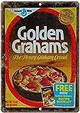 Golden Grahams Cereal Box Metal Tin Indicador Sign Retro Art Poster Decoración Sala de juegos Metal Street Sign, Placa Sala de estar Dormitorio Decoración del hogar, 30x20cm