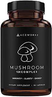 10X Organic Mushroom Supplement - Lions Mane, Reishi, Cordyceps - Immune Booster & Nootropic Brain Supplement for Memory &...