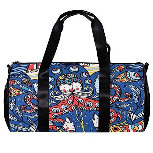 TIZORAX Duffel Bag für Damen und Herren, farbige Oktopuss-Fische, Boote, Muster, Sport, Fitnessstudio, Tragetasche, Wochenende, Übernachtung, Reisetasche, Outdoor-Gepäck, Handtasche