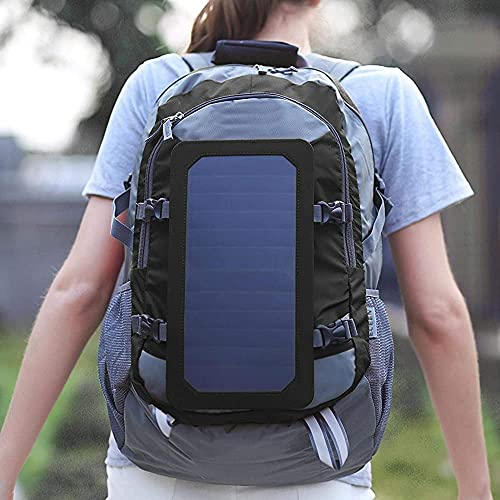 YOOBB Bolsa De Montaña De Gran Capacidad Solar, Bolsa De Viaje Compresiva, Mochila De Carga USB, Poliéster Negro