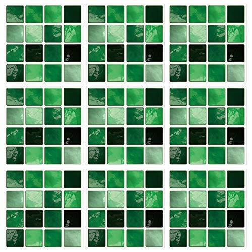 LxwSin Vinilo decorativo mosaico, Pegatinas de mosaico de colores, 30 piezas Autoadhesivas de efecto mármol mosaico pegatinas, Pegatinas para pared PVC para azulejos para baño cocina, impermeable