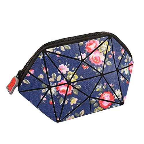 Makeup Bags for Women Geometric Cosmetic Bag for Purse, Foldable Beauty Pouch Toiletry Case Organizer (Navy Floral)