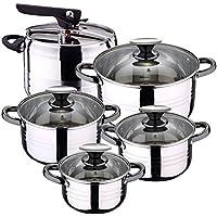 San Ignacio -  Batería de cocina 4 cacerolas 4 tapas de vidrio 1 Olla exprés 5 litros, Acero inoxidable, inducción