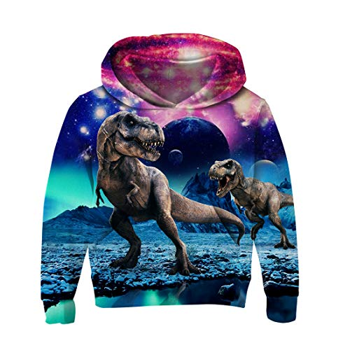 uideazone Unisex Teens Boys Girls Galaxy Dinosaur Hooded...