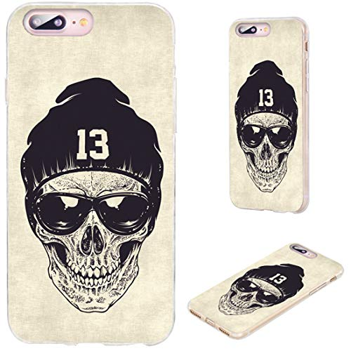 iPhone 8 Plus Case,iPhone 7 Plus Case,VoMotec [Cute Series] Anti-Scratch Ultra Thin Flexible Soft TPU Full Protective Cover Case for iPhone 7 8 Plus 5.5,dotwork Skull Modern Street Style Sunglasses