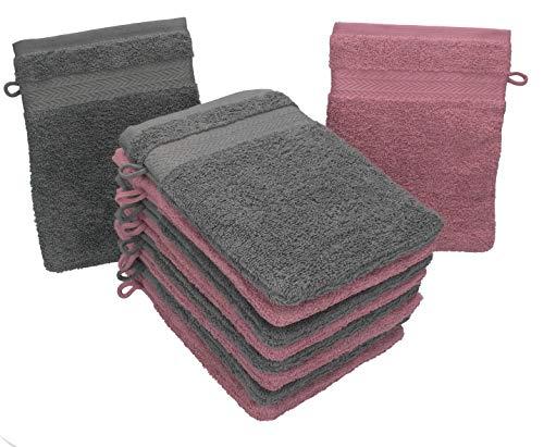 Betz 10 Stück Waschhandschuhe Premium 100% Baumwolle Waschlappen Set 16x21 cm Farbe Altrosa und anthrazit