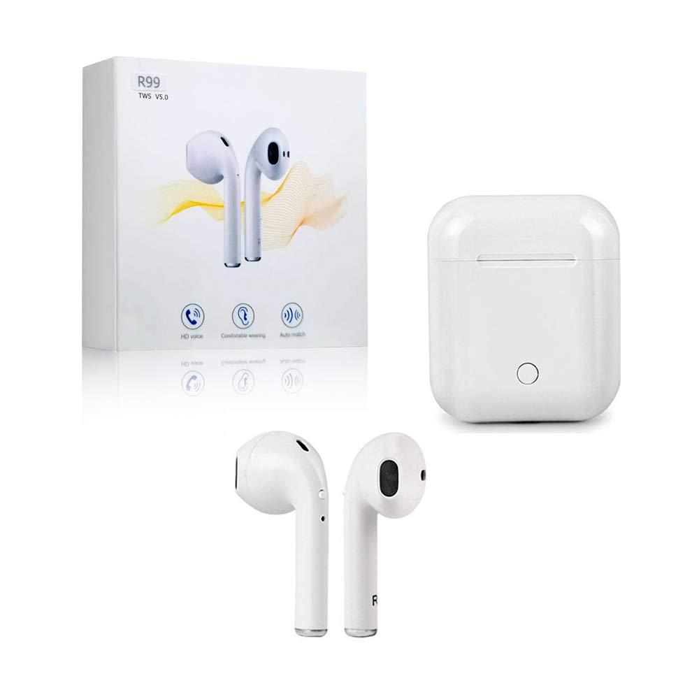 Airpod - Auriculares Bluetooth inalámbricos in-ear estéreo in-ear manos libres para Airpod y funda de carga, Android/iPhone blanco + estuche de regalo de silicona blanca: Amazon.es: Electrónica
