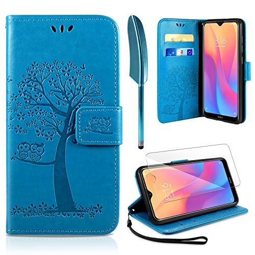 AROYI Xiaomi Redmi 8A Hülle, Handyhülle Xiaomi Redmi 8A Hülle Tasche Leder Flip Eule Baum Wallet Schutzhülle für Xiaomi Redmi 8A Blau