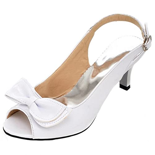a6edb0d85e2a RAZAMAZA Women s Bowknot Peep Toe Sling Back Court Shoes Kitten Heels  Sandals