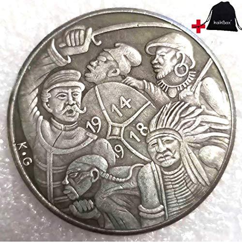 FKaiYin 1914–1918 handgeschnitzte große Reichsmark-Münzen, deutsche Münzen – Missing History of Preußische Münze – Europäische alte Münze + KaiKBax-Tasche – Lehrwerkzeug für Kinder