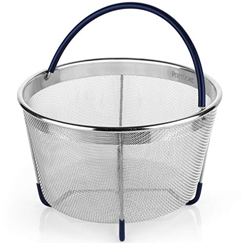 Steamer Basket for 6 and 8 Quart Pressure Cooker, fits Instant Pot 6, 8 Quart, Ninja Foodi, Emeril and Other, IP Stainless Steel Insert with Silicone Covered Handle and Legs, PerfeCome