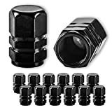 JUSTTOP Car Wheel Tire Valve, 12pcs Air Caps Cover, Universal for Cars, SUVs, Bike, Trucks and Motorcycles-Black