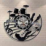TIANZly Disque Vinyle Horloge Murale Guitare Forme Vinyle Disque 3D Horloge Murale Moderne Conception Thème Vintage LP Suspendus Horloges Murales Home Decor Cadeaux pour Guitariste