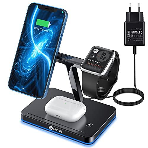 WAITIEE Cargador Mag-Safe 3 en 1,Cargador Rápido Inalámbrico de 15W,Sólo para iPhone 12/Pro/Max/Mini,Base de Carga Inductiva Multi Rápida para Apple Watch,Airpods Pro (con adaptador QC 3.0)