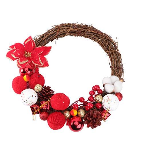 PRETYZOOM Guirnalda de Ratten de Navidad con Cono de Pino Flor de Pascua Bola de Navidad Guirnalda Colgante de Arrecife de Navidad Decoración de Navidad para Ventana de Puerta