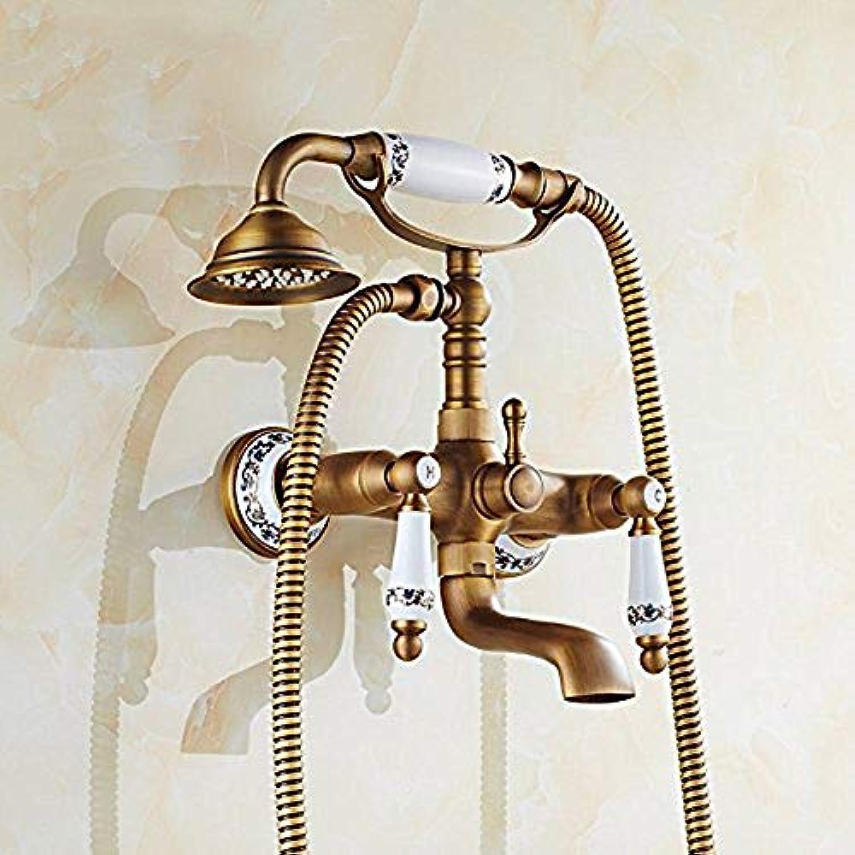 Antike Badewanne Wasserhahn Dusche Set Bronze Porzellan Wasserhahn Bad Telefon Bad Mischbatterie mit Hand Bad Wasserhahn, Multi,A