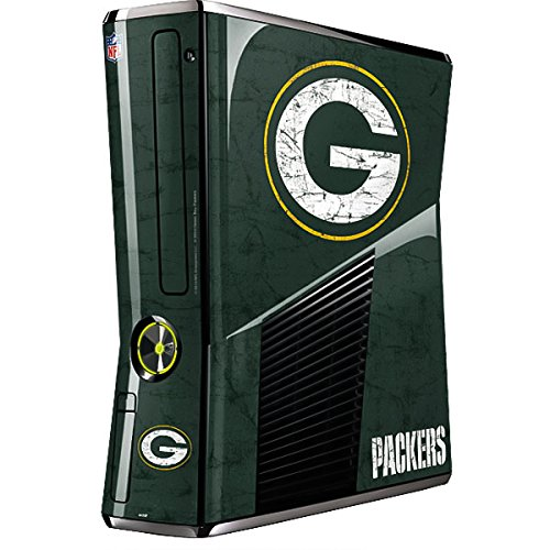 Skinit Decal Gaming Skin Compatible with Xbox 360 Slim (2010) - Officially Licensed NFL Green Bay Packers Distressed Design