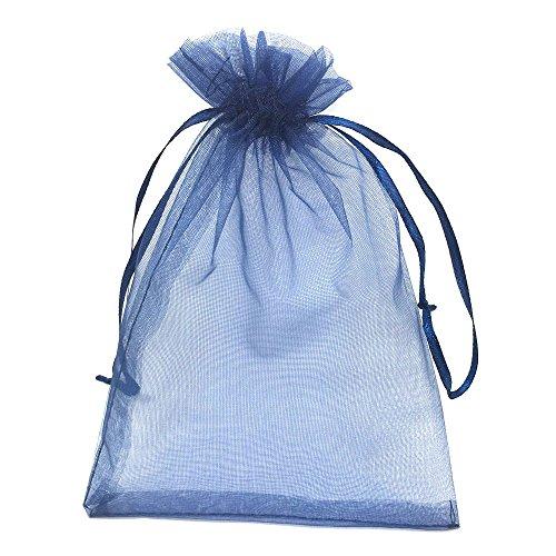100 pcs 5 x 7 Inch Candy Bags Christmas Snowflake Drawstrings Sheer Organza Favors Gift Bags
