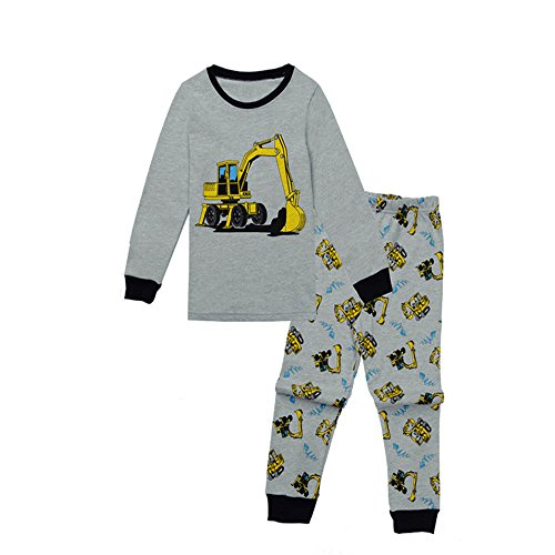 Baby Jongens Katoen Pyjama Set Peuter Kinderen Tractor Gedrukt Lange Mouwen T-Shirts Top Sweatshirt Broek 2 PCS Kleding Sets Kleine Kind pyjama Set Nachtkleding Outfits Set Grijze Slaapmode Leeftijd 0-6 Jaar