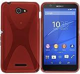 Tumundosmartphone Funda Gel TPU Sony Xperia E4 X-Line Color ROJA