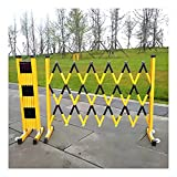 2 Piezas Plegable Poste De Barrera Móvil Peatonal Barrera De Seguridad, La Gestión del Tráfico Valla De Carretera, con Polea para Obras Viales, Carreteras Deposito