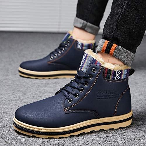 LOVDRAM Chaussures en Cuir pour Hommes Hiver Plus Plateforme en Coton Bottes Martin Bottes De Neige pour Hommes dans Le Tube Bottes Mode Homme Haute Chaussures Hommes