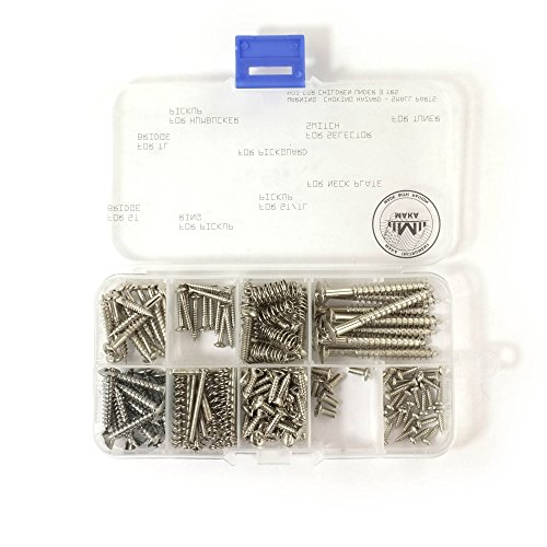 MAKA Guitar Screw Kit Assortment Box Kit for Electric Guitar Bridge, Pickup, Pickguard, Tuner, Switch, Neck Plate, with Springs, 9 Types, Total 149 Screws, Chrome