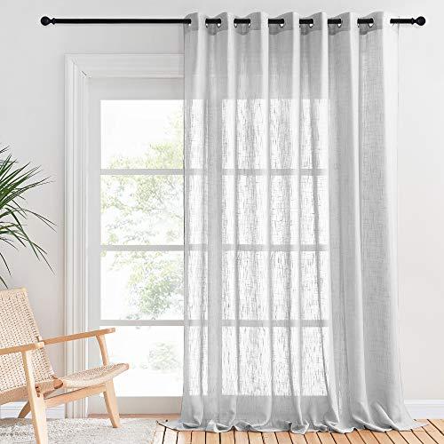 PONY DANCE Gardinen Wohnzimmer Voile - Vorhänge Hellgrau Halbtransparent Leinentextur Vorhang mit Ösen Gardine für Balkontür/Schiebetür, 1 Stück H 240 x B 254 cm