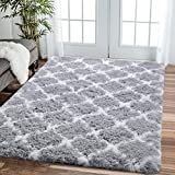 Comeet Modern Geometric Fluffy Area Rugs for Livingroom Grey White 4x5.9 Shag Rugs for Bedroom Fuzzy Plush Kids Carpet Furry Shaggy Indoor Home Decor Nursery Baby Girls Boys Comfy Accent Floor Mat