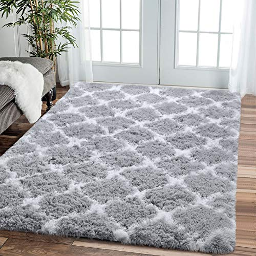 Comeet Modern Geometric Fluffy Area Rugs for Livingroom Grey White 5x8 Shag Rugs for Bedroom Fuzzy Plush Kids Carpet Furry Shaggy Indoor Home Decor Nursery Baby Girls Boys Comfy Accent Floor Mat