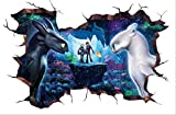 stickerzb Wandtattoo, How to Train Your Dragon Wanddekoration Aufkleber Türen Wohnkultur Kunst Tapete Geschenke Für Kinder PVC-Poster 40x60cm