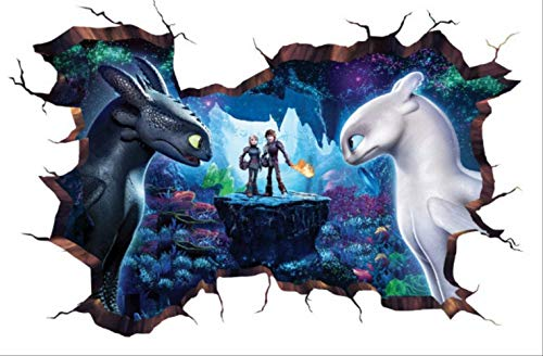 stickerzb Wandtattoo, How to Train Your Dragon Wanddekoration Aufkleber Türen Wohnkultur Kunst Tapete Geschenke Für Kinder PVC-Poster 40x60cm