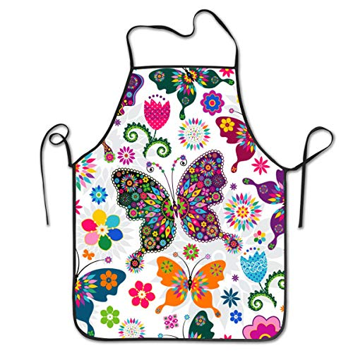 NVJUI JUFOPL Cooking Kitchen Baking Gardening Haircut Cute Apron Funny Bib Aprons for Women Men Chef - Colorful Butterflies and Flowers