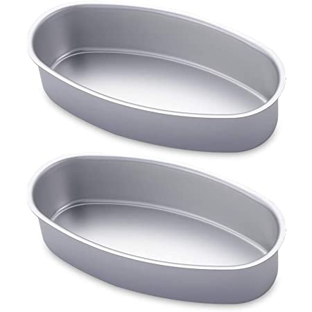 2pcs Silver Non Stick Oval Bread Mold Pastry Cake Loaf Pan Baking Tray Bakeware