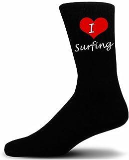 I Love Surfing Deportes calcetines. Negro deportes calcetines de algodón de lujo.