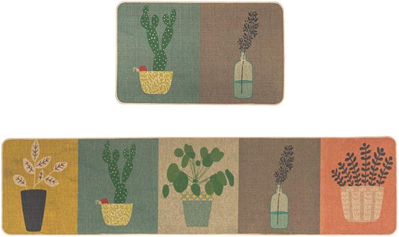 Lvdijidian Rug Carpet Geometry Nordic Rug Modern Minimalist Rubber Imitation Linen Kitchen Anti-Skid Oil-Proof Elastic Foot Bedside Mat Doormat of Decoration (Size   45cmx150cm)