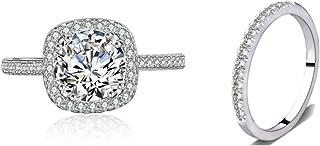 Bridal Ring Set Accented Round Halo Engagement Ring Matching Half Eternity Wedding Band Size 4 5 6 7 8 9 10