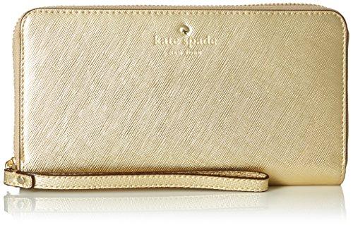 Kate Spade New York Zip Wristlet (Fits Most Mobile Phones) - Saffiano Gold, KSIPH-018-SGLD
