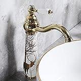 LIANGANAN Grifo de Elk cerámica pintada Lavabo Baño Latón agua caliente y fría acondicionado Home Hotel Revestimiento del orificio de grifo de mezcla Hermosa práctica