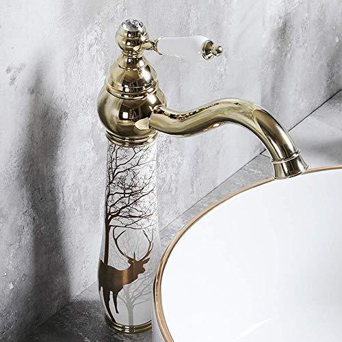Grifos para Fregadero Grifos de baño Lavabo de latón Grifo de latón Agua Caliente y fría acondicionamiento casero Hotel Chapado en un Solo Agujero mezclando Grifo