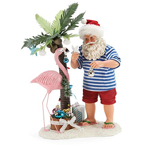 Department 56 Possible Dreams Santa by The Sea Flamingle Figurine, 10.5 Inch, Multicolor