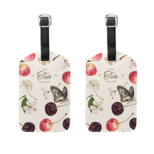COOSUN Sweet Cherry Fruit Luggage Tags Travel Labels Tag Name Card Holder for Baggage Suitcase Bag Backpacks, 2 PCS